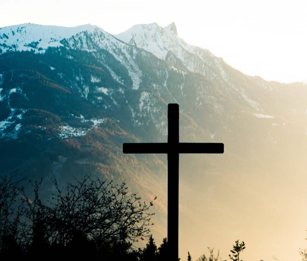 brown cross on brown tree near snow covered mountain during daytime