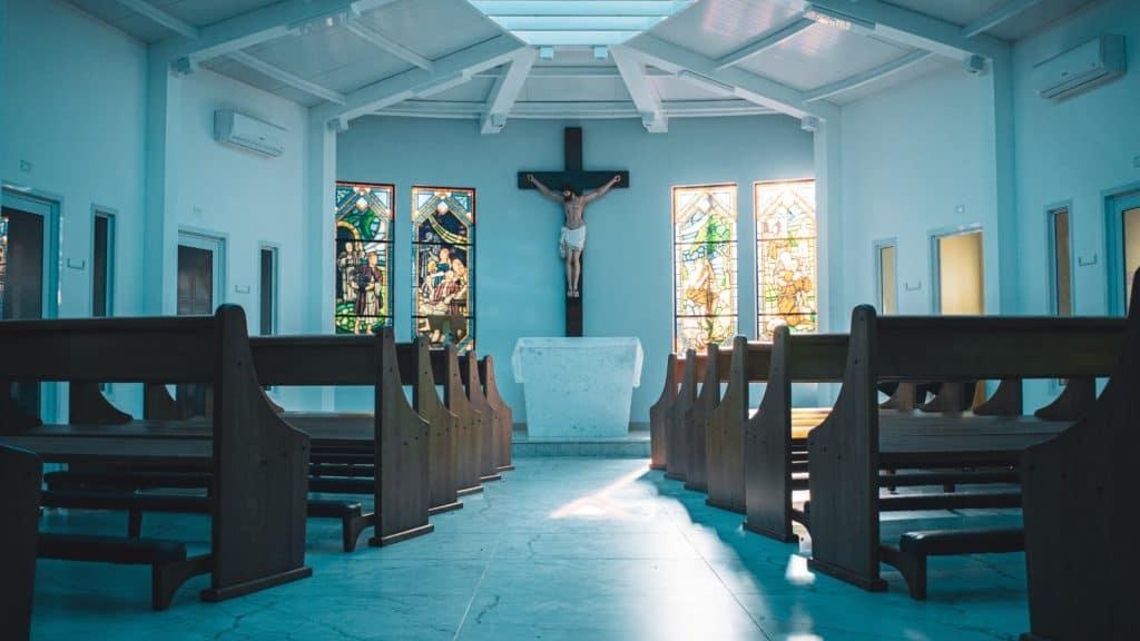 wooden church pews in church